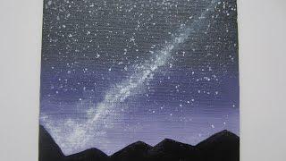 Рисуем звездное небо акриловыми красками/Acrylic painting star sky