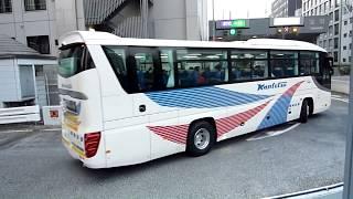 首都高速宝町入口名物  難所「高速バス直角カーブ」!!東京駅発の高速バスが続々と通過!!