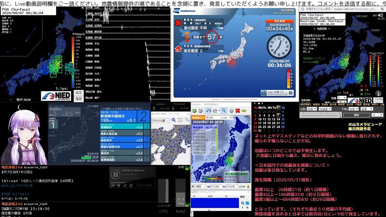 【緊急地震速報】2020/08/07 00:35発生 三重県南東沖 M5.2 最大震度2