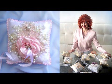 Вышивка бисером, жемчугом. Свадебные подушечки для колец. Часть 2