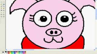 How to draw a comedic animal on MS Paint ~ #1 Pig in a gymnastic costume!