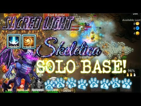 Sacred Light Skeletica SOLO BASE GAMEPLAY - Castle Clash