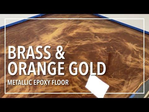 Brass & Orange Gold Epoxy Floor   How To