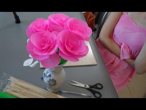 как сделать цветы из гофрированной бумаги своими руками видео