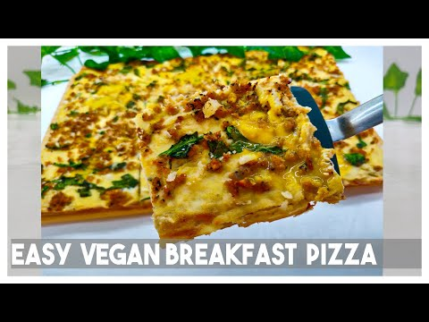 Easy Vegan Breakfast Sausage Pizza  with a runny vegan egg