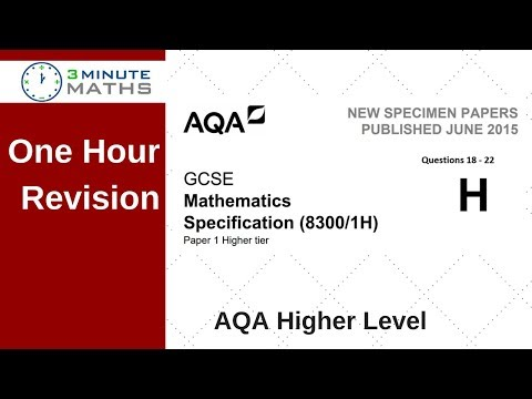 One Hour Revision - AQA GCSE Higher Maths Non Calc Questions 18 - 22