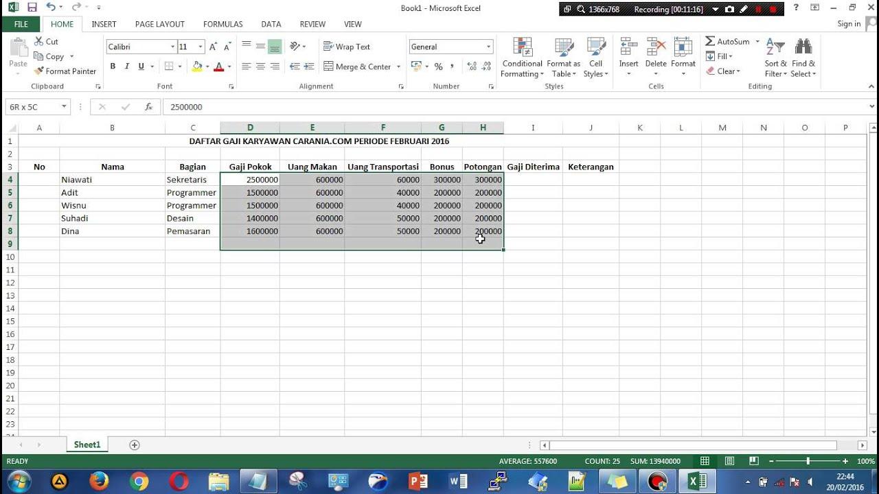 membuat tabel gaji karyawan di excel