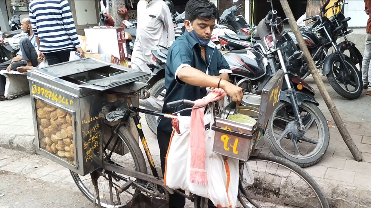 Hardworking Man Sells Bhel Kachori Chaat From His Cycle   Indian Street Food