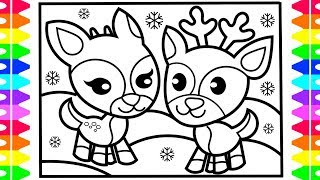 CHRISTMAS COLORING! How to Draw Cute REINDEER |Step by Step| Reindeer Drawing and Coloring  for KIDS