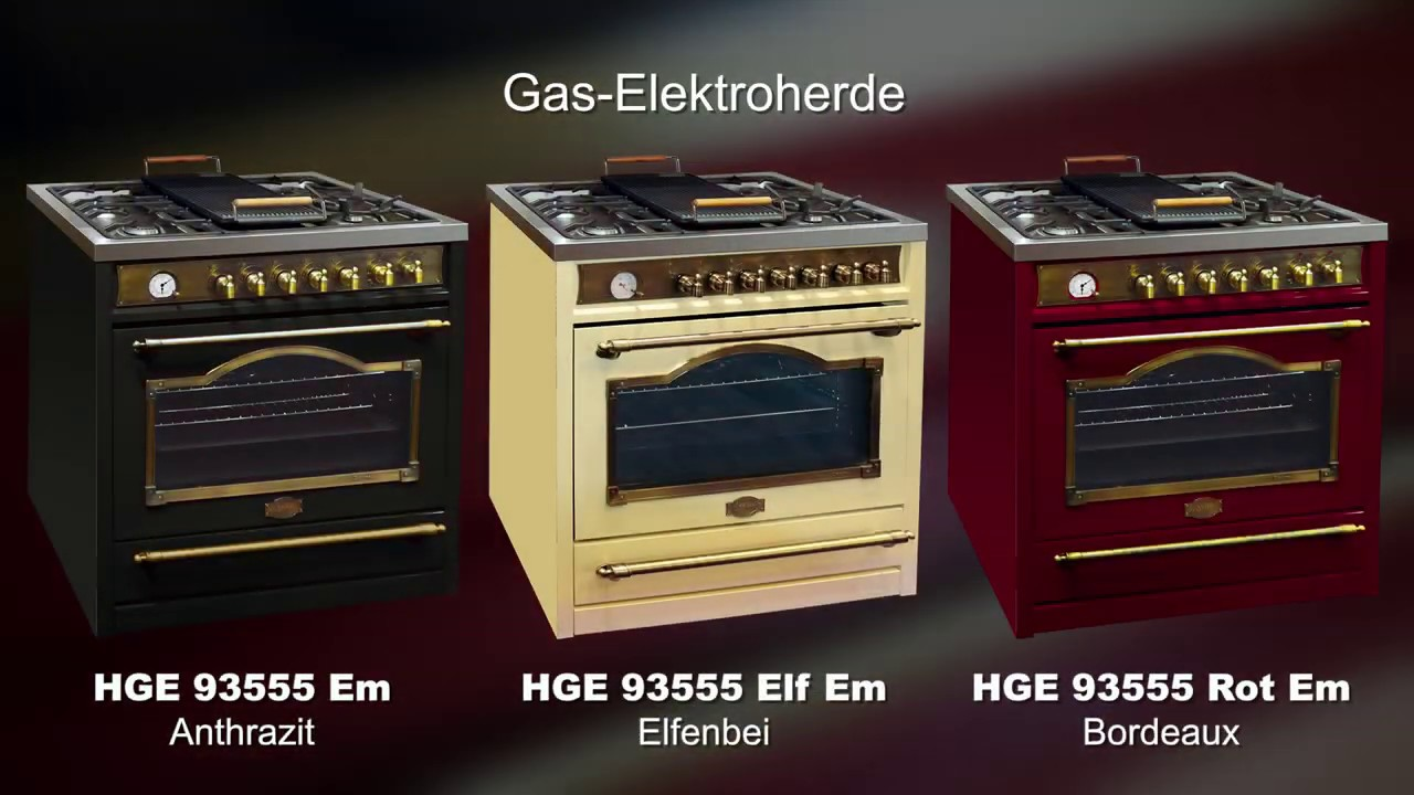 Freistehende Gas Elektroherde 90 Cm Empire Youtube