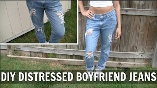DIY Distressed Boyfriend Jeans | Ally Jones ♡