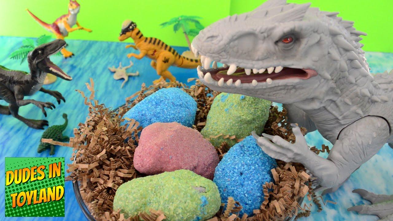 Dinosaur eggs Jurassic World toys Indominus Rex surprise fizzing ...