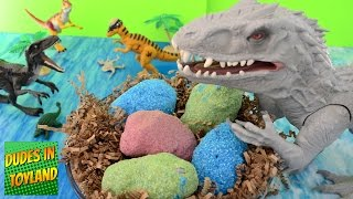 Dinosaur eggs Jurassic World toys Indominus Rex surprise fizzing hatching magic dino