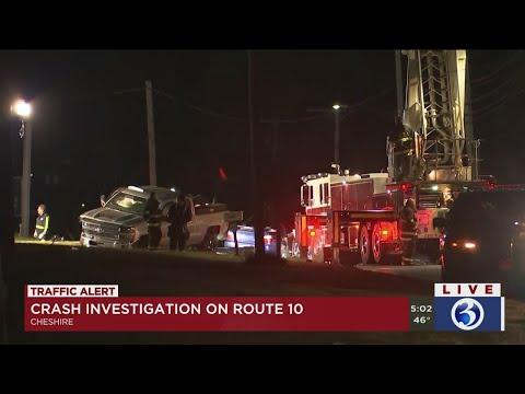 VIDEO: Two Vehicle Crash Shuts Down Cheshire Roadway