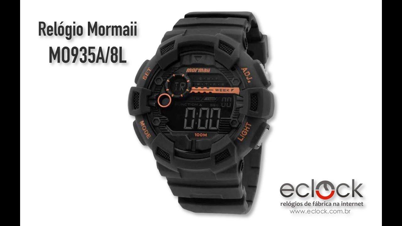 36b8f3501cf5a Relógio Mormaii Masculino MO935A 8L - Eclock - YouTube