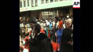 SYND 10 7 69 RIOTS BREAK OUT ALONG TOM MBOYA 39 S FUNERAL ROUTE