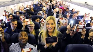 Gave out 143 New Nintendo 3DS XL systems to everyone on this plane! | iJustine