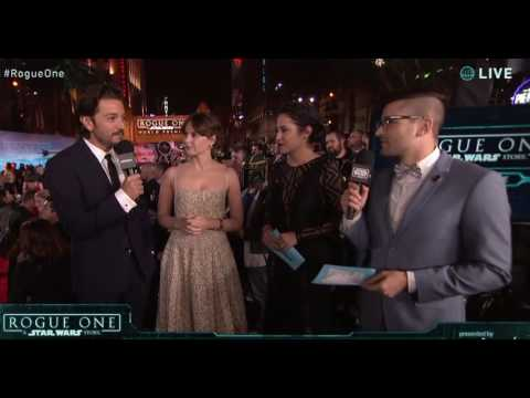 Felicity Jones and Diego Luna Interview - Rogue One A Star Wars Story Red Carpet World Premiere