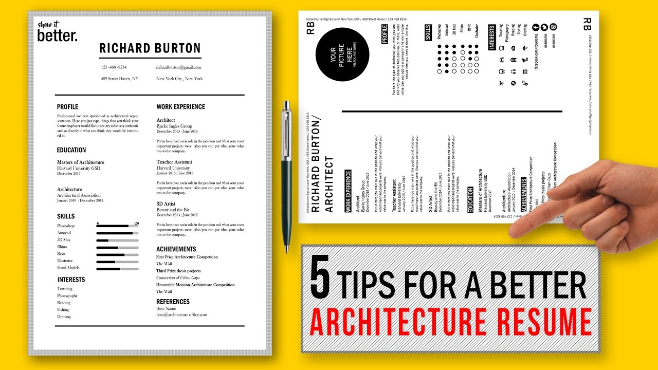 Tips For A Better Architecture Resume Cv  Free Template  Youtube