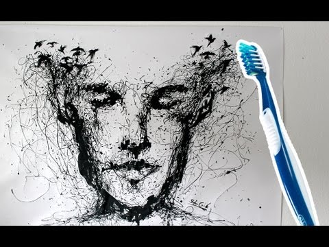 Speed painting with a toothbrush ! Drip Portrait   ARTgerecht #8