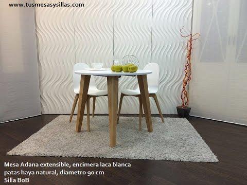 Mesa redonda adana extensible de estilo nordico en blanco - Mesas de comedor cuadradas ...