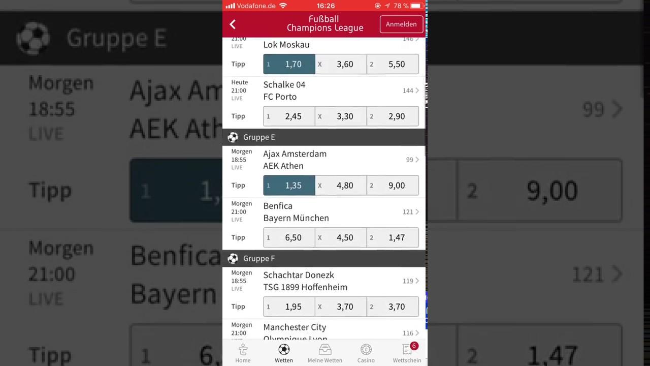 Championsleague 1 Spieltag Meine Prognose Wett Tipps Ucl