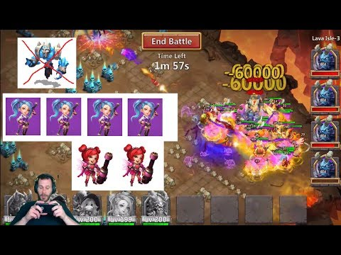 Lava 3 With 4 GunSlingers And NO Ice Demon Beat Old Record Castle Clash