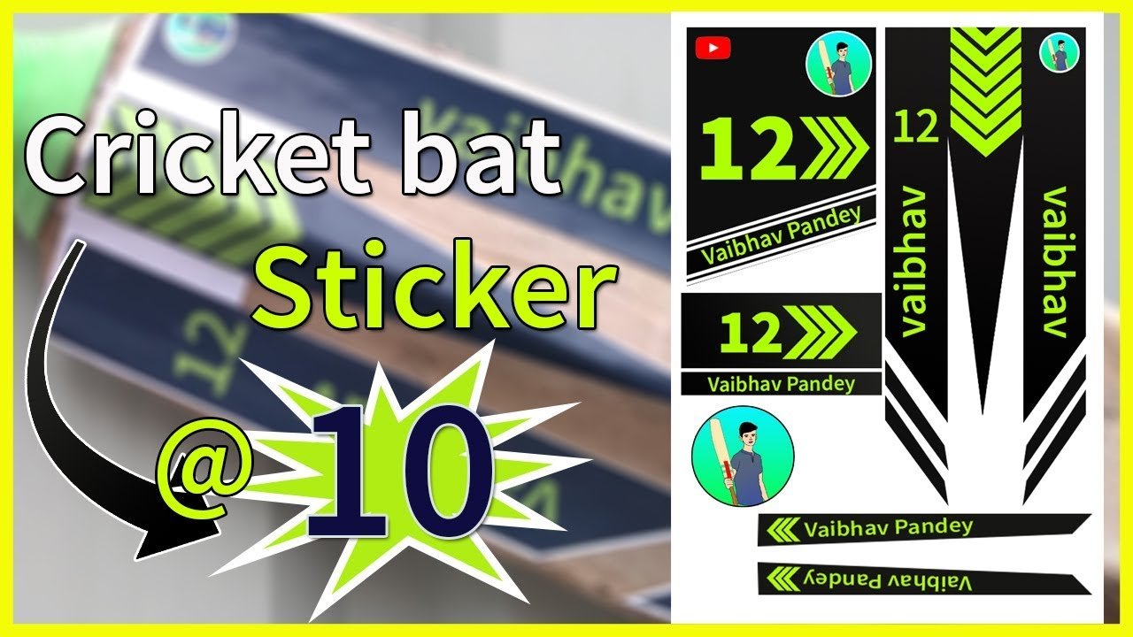 Bat Sticker At Rs 10 With Your Name How To Make Cricket Bat Sticker At Home Cricket Youtube