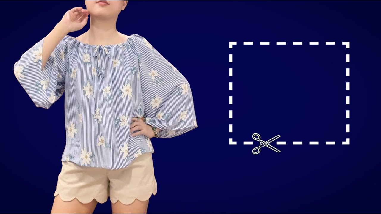 Very easy Rectangle blouse cutting and sewing | DIY top/shirt/blouse | Flared blouse sewing tutorial