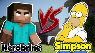 HEROBRINE vs HOMER SIMPSON sur MINECRAFT !!