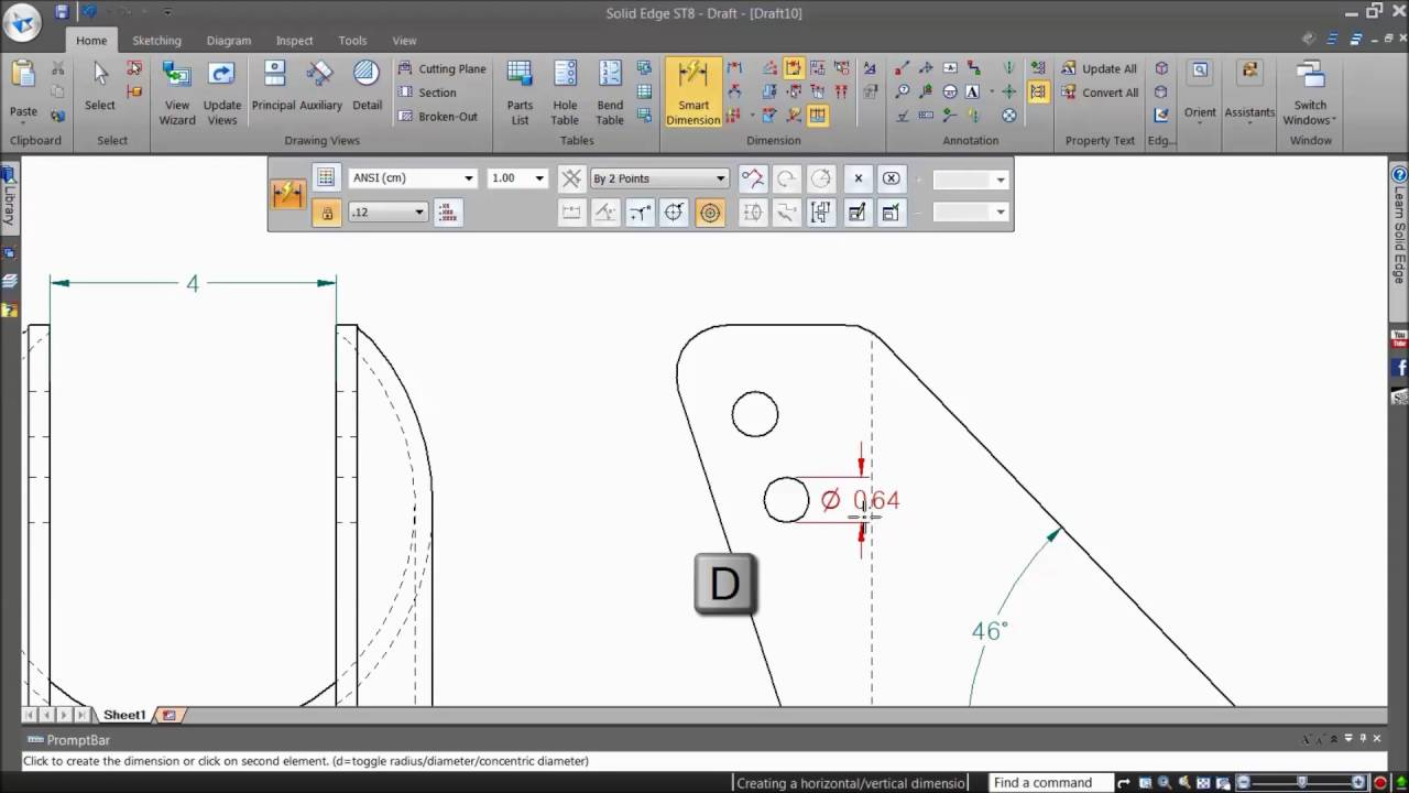 how to add cad dimensions using the smart dimensions command youtube. Black Bedroom Furniture Sets. Home Design Ideas