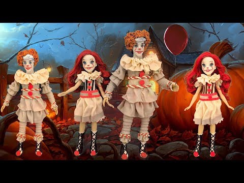 DIY Pennywise Halloween Costumes using play doh for Disney Dolls