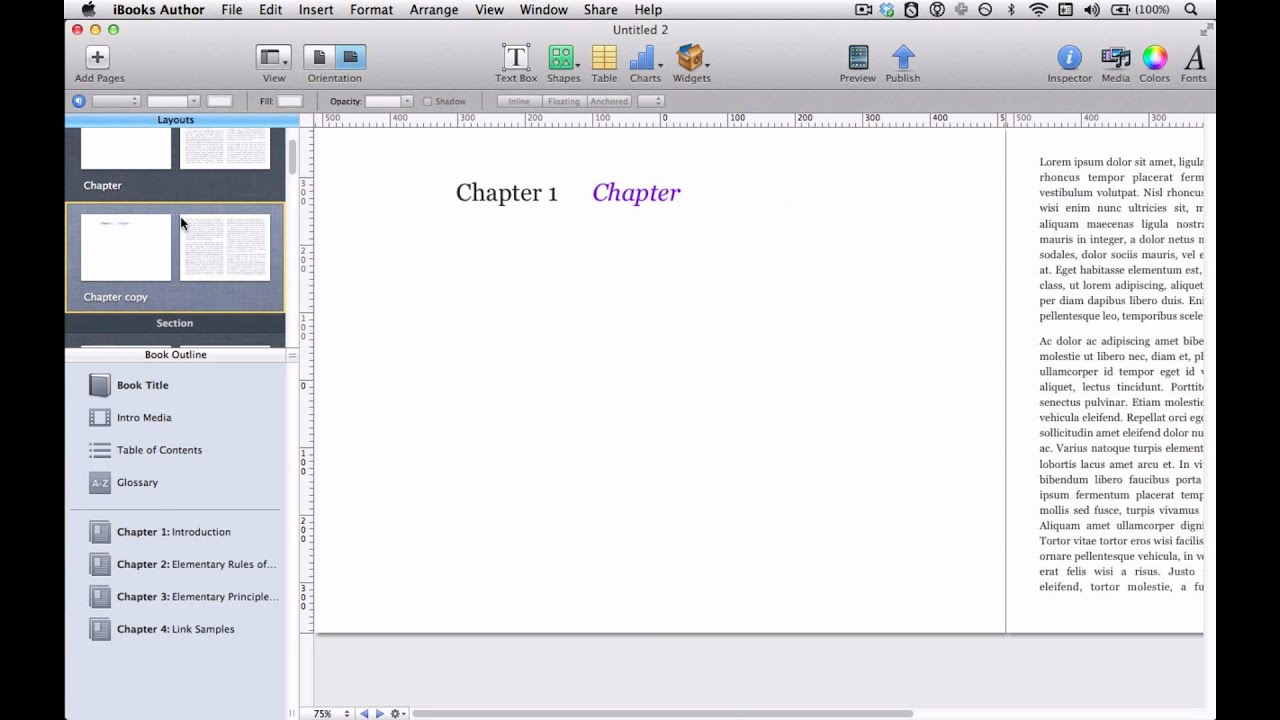 Working with Chapters, Sections, and Pages in iBooks Author - YouTube
