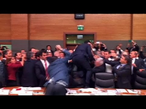 Incredible scenes as fighting breaks out in Turkish parliament