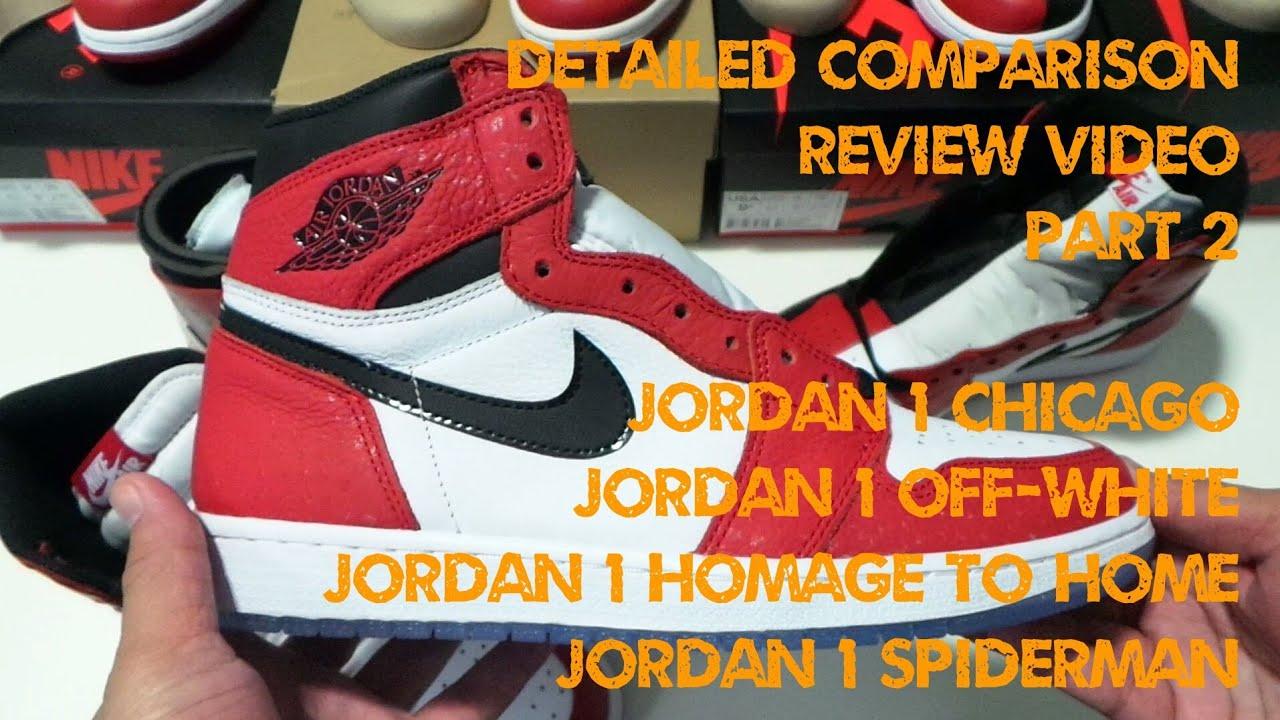 c07fb81829b5 Jordan 1 Chicago Vs Off White Vs Homage to Home Vs Spiderman - Detailed  Comparison + Review - Part2