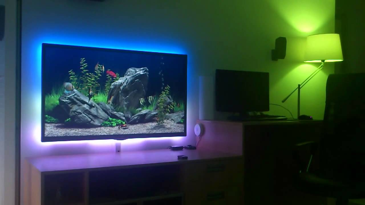 Aquarium and fireplace with philips hue youtube aloadofball Gallery