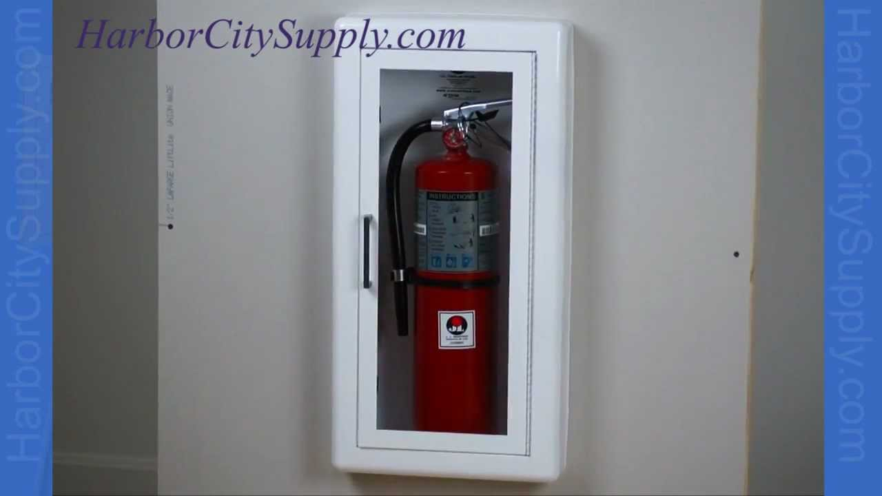 Semi Recessed Fire Extinguisher Cabinet   JL Industries   YouTube