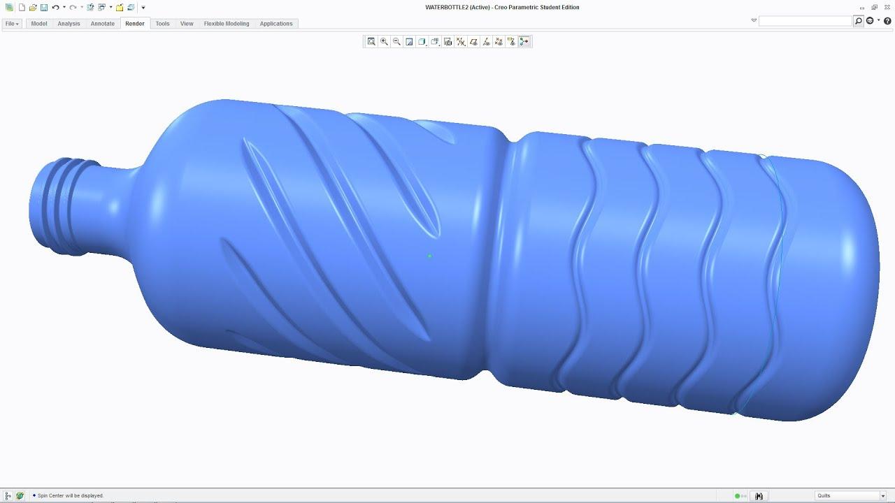 Creo Tutorial - Model 3D Water Bottle Tutorial