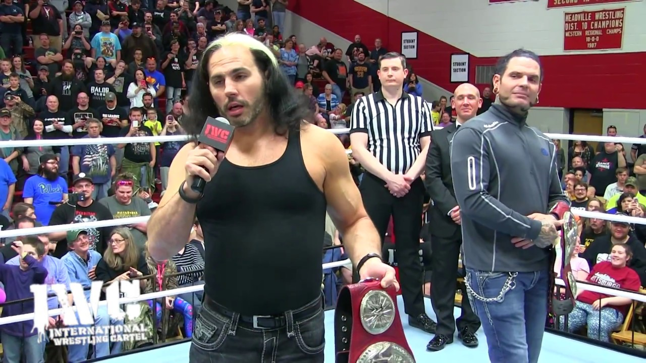 Image result for Hardy Boyz bring WWE Titles to IWC Wrestling
