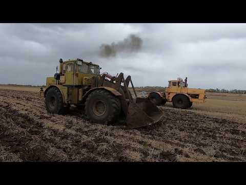 Трактор Кировец. Заливаю воду в колёса. Выкапываем камни в поле.