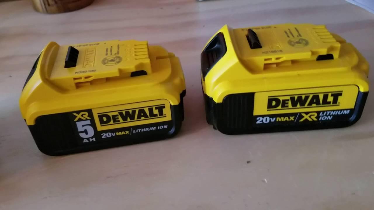 dewalt 20v 5ah battery vs 4ah battery lithium ion. Black Bedroom Furniture Sets. Home Design Ideas