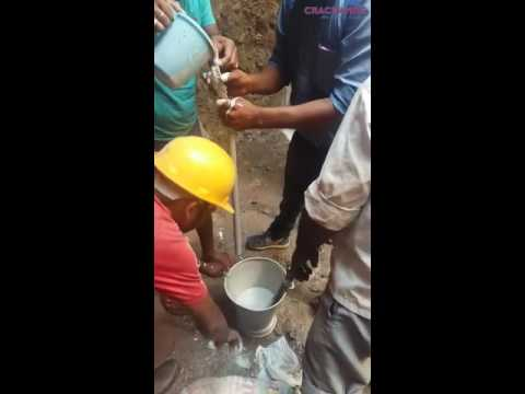 CRACKAMITE, a Non-Explosive Expansive Silent Cracking Agent, is a highly expansive powder composition for stone breaking, granite and marble quarrying, concrete cutting and demolition.   This video is showing usage of crackamite where water comes in the holes.