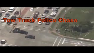 Tow Truck Runs Red Light In High Speed Police Chase And Crashes!