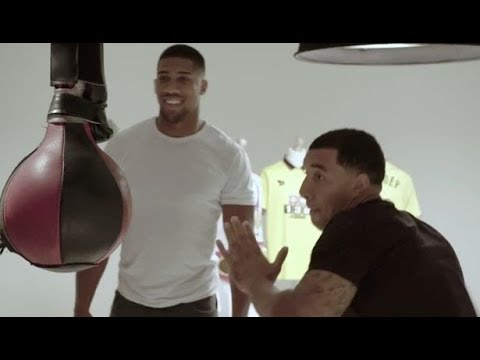 Anthony Joshua tries boxing machine ft. Troy Deeney