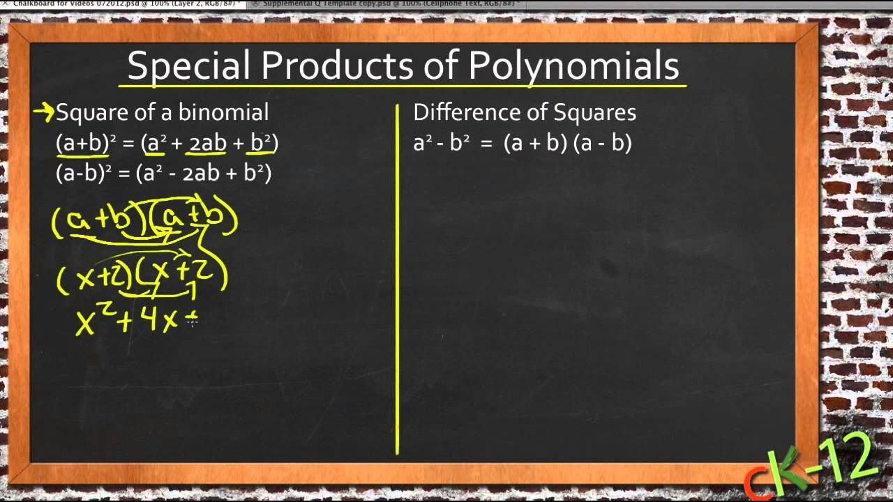 Special Products of Polynomials: An Application (Algebra I) - YouTube