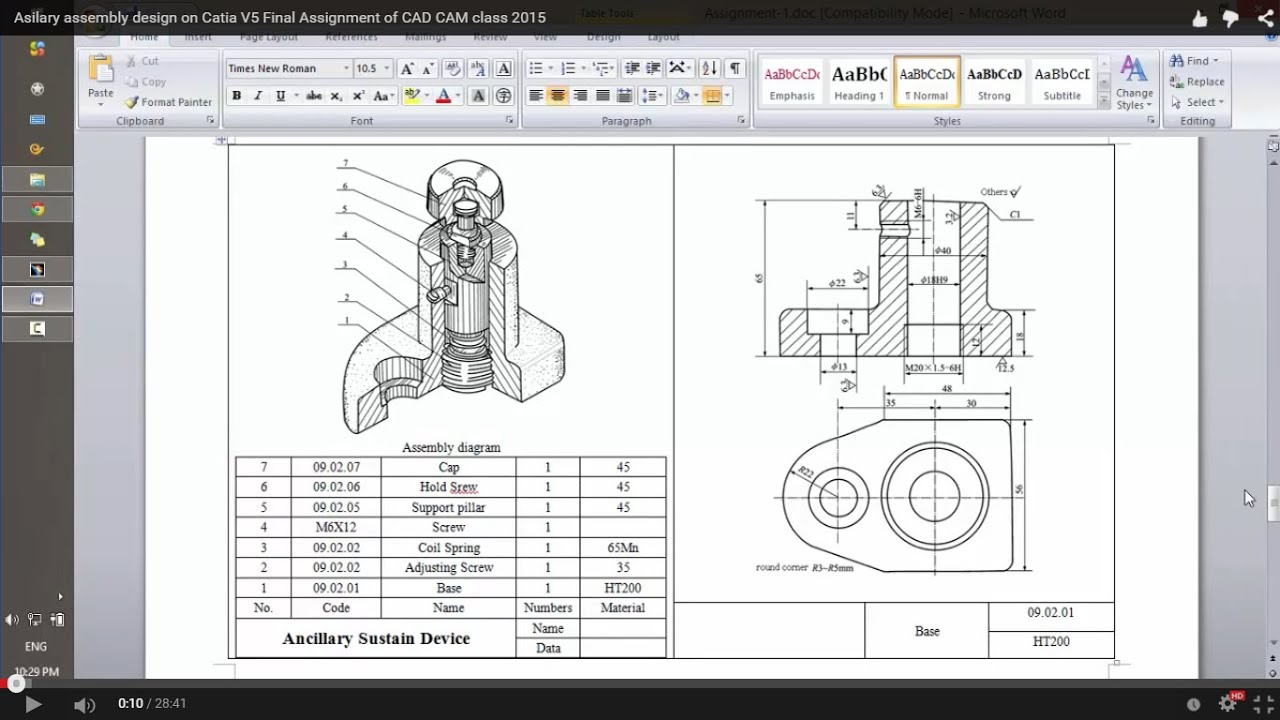 assignment final asilary assembly design on catia v final assignment of cad cam asilary assembly design on catia
