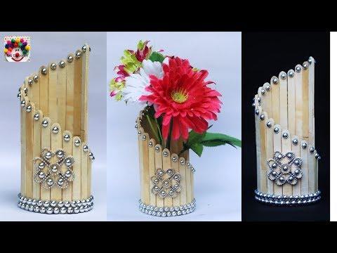 DIY ice cream stick flower vase making at home || popsicle sticks craft idea || raj easy craft 567