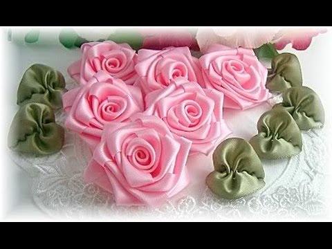 طريقة عمل وردة من شريط الستان   Diy Ribbon Rose