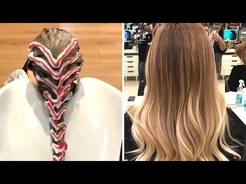Как красят волосы в салонах видео