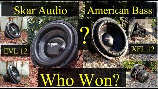 Who Won The Bench Test? Skar Audio EVL12 vs American Bass XFL12  Plus Complete Unboxing.